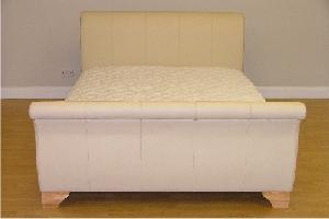 Luxury Leather Sleigh bed frame - with waterbed inside